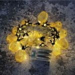 3M Pineapple String Lights 20-LED Fairy String Lights Battery Operated for Christmas Home Decoration – Gold