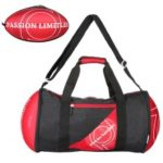 Unisex Rugby Shape Gym Duffel Bag Portable Storage Bag for Outdoor Sport Travel Vacation – Red / Black