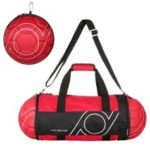 Unisex Football Shape Gym Duffel Bag Portable Storage Bag for Outdoor Sport Travel Vacation – Red / Black
