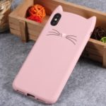 For iPhone XS Max 6.5 inch 3D Moustache Cat Silicone Case – Pink