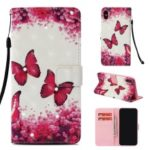 For iPhone XS Max 6.5 inch Patterned Light Spot Decor Diamond Stand Wallet Leather Phone Casing – Red Butterfly and Flowers