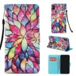 Patterned Diamante Leather Shell [with Wrist Strap] for iPhone XS / X 5.8 inch – Colorful Petals