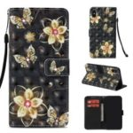 Patterned Rhinestone Leather Case for iPhone XS / X 5.8 inch (Light Spot Decor) (Wallet Stand) (Strap) – Gold Butterflies and Flowers