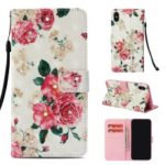 Rhinestone Decor Pattern Printing Wallet Leather Casing with Strap for iPhone XS/X – Vivid Flower