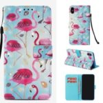 For iPhone XS Max 6.5 inch Patterned Leather Casing [Light Spot Decor] [Rhinestone] [Wallet & Stand] – Flamingo