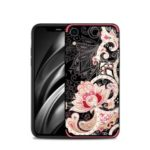 NXE Unique Series TPU Case for iPhone XR 6.1 inch / Flower Pattern Printing / Rhinestone Decor – Red
