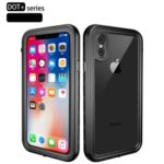 REDPEPPER Dot+ Series Transparent Back Dustproof Snowproof IP68 Waterproof Case for iPhone XS Max 6.5 inch – All Black