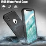 REDPEPPER Dot+ Series Dustproof Snowproof IP68 Waterproof Case with Kickstand for iPhone XS Max 6.5 inch – All Black