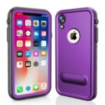REDPEPPER Dot+ Series Dustproof Snowproof IP68 Waterproof Back Cover with Kickstand for iPhone XR 6.1 inch – Purple