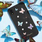 KINGXBAR for iPhone XR 6.1 inch [3D Butterfly] PU Leather Coated PC Case [Authorized Swarovski Rhinestone Decor] – Black