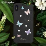 KINGXBAR [3D Butterfly] PU Leather Coated Plastic Cover for iPhone XS 5.8 inch [Authorized Swarovski Rhinestone Decor] – Black
