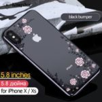 KAVARO Floret Swarovski Rhinestone Case Plated PC Protection Phone Cover for iPhone XS 5.8 inch – Black