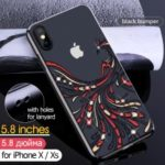 KAVARO Crystals Decor Electroplated Phoenix Pattern Plastic Hard Cover for iPhone XS 5.8 inch – Black