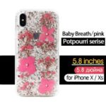 KAVARO Potpourri Series Rhinestone Golden Foil Decorated Babysbreath Flower PC TPU Hybrid Case for iPhone XS 5.8 inch – Pink