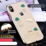 KINGXBAR [Swarovski Rhinestone] Crystal Clear Plated PC Cover Shell for iPhone XS Max 6.5 inch – Gold Bumper