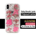 KAVARO Potpourri Series Rhinestone Golden Foil Decorated Babysbreath Flower PC TPU Hybrid Case for iPhone XR 6.1 inch – Pink