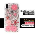 KAVARO Floral Series [Delphinium Flower] TPU and PC Case for iPhone XS 5.8 inch Rhinestone and Golden Foil Decorated Epoxy Case – Pink