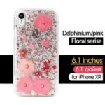 KAVARO Floral Series [Delphinium Flower] Case for iPhone XR 6.1 inch Rhinestone and Golden Foil Decorated Epoxy TPU and PC Case – Pink