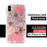 KAVARO Floral Series Casing for iPhone XS Max 6.5 inch [Delphinium Flower] Rhinestone and Golden Foil Decorated Epoxy TPU and PC Case – Pink