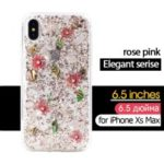 KAVARO Elegant Series Golden Foil Decorated Flower Pattern PC TPU Hybrid Case for iPhone XS Max 6.5 inch – Pink