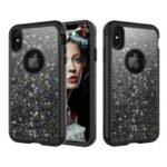 Glitter Powder Shockproof TPU PC Hybrid Back Case for iPhone XS Max 6.5 inch – Black