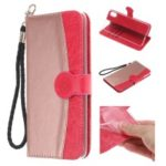 Contrast Color Imprint Flower Wallet Leather Case with Strap for iPhone XR 6.1 inch – Rose Gold / Red
