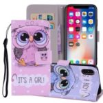 Pattern Printing Wallet Stand Leather Case for iPhone XS Max 6.5 inch – Owl