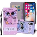 Pattern Printing Wallet Stand Leather Casing for iPhone XR 6.1 inch – Owl