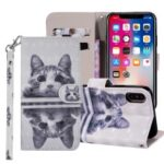 Patterned Wallet Stand Leather Folio Cover for iPhone XS Max 6.5 inch – Cute Cat