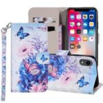 Pattern Printing Wallet Stand Leather Mobile Case for iPhone XR 6.1 inch – Butterfly