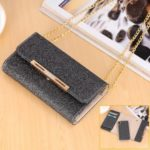 Flash Powder Leather Wallet Case + Removable TPU Back Shell with Metal Chain for iPhone XR 6.1 inch – Black