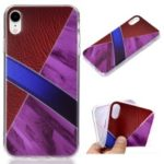 Marble Pattern and Leather Texture Splicing TPU Case for iPhone XR 6.1 inch – Purple