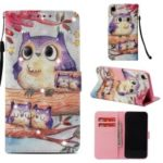 Pattern Printing Rhinestone Decor Leather Wallet Case for iPhone XR 6.1 inch – Owl Pattern