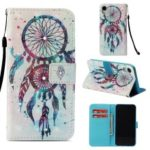 Patterned Light Spot Decor Diamond Wallet Leather Casing for iPhone XR 6.1 inch – Blue Dream Catcher