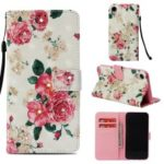 Rhinestone Decor Pattern Printing Wallet Leather Casing with Strap for iPhone XR 6.1 inch – Vivid Flower