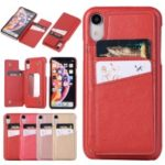 Card Holder PU Leather Coated PC Mobile Phone Case with Mirror for iPhone XR 6.1 inch – Red