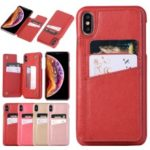 Card Holder PU Leather Coated PC Mobile Phone Case with Mirror for iPhone XS Max 6.5 inch – Red