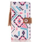 Pattern Printing Tassels Decor Leather Stand Wallet Cell Phone Cover for iPhone XS Max 6.5 inch – Style F