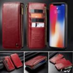 CASEME Detachable 2-in-1 Business Zipper Leather Wallet Case for iPhone XS Max 6.5 inch – Red
