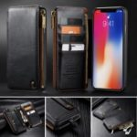 CASEME Detachable 2-in-1 Business Zipper Leather Wallet Case for iPhone XR 6.1 inch – Black