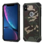 Camouflage Pattern Leather Coated PC TPU Hybrid Phone Case for iPhone XS Max 6.5 inch – Green