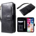 Premium Crazy Horse PU Leather Wallet Cover + Detachable TPU Case for iPhone XS / X 5.8 inch – Black