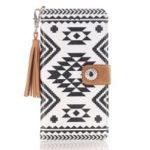 Geometric Pattern Leather Wallet Case for iPhone XR 6.1 inch – Style A