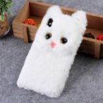 3D Cute Cat Pattern Fur Coated TPU Back Case for iPhone XS Max 6.5 inch – White