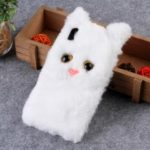 3D Cute Cat Pattern Fur Coated TPU Back Case for iPhone XR 6.1 inch – White