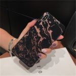 [Lacquered] Marble Pattern Glossy TPU Case for iPhone XS Max 6.5 inch – Black