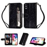 Flash Powder Zippered Stand Leather Wallet Casing with Strap for iPhone XS 5.8 inch – Black