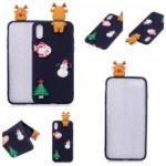3D Pattern Christmas Element TPU Case for iPhone XS Max 6.5 inch – Black Background with Snowman