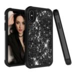 Hybrid Case for iPhone XS Max 6.5 inch Glitter Powder Coated PC Silicone Shockproof Cover – All Black