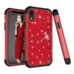 Back Casing for iPhone XR 6.1 inch [Glitter Powder Coated] PC Silicone Shockproof Hybrid Cover – Black / Red